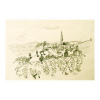 "Wayne Ensrud Signed ""Fleurie in Beaujolais, France"" 15x18 Pencil Original Artwork at PristineAuction.com"