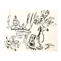 "Wayne Ensrud Signed ""Bouquets at Chateau Canon"" 19x25 Pen & Ink Original Artwork"