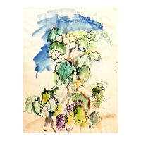 "Wayne Ensrud Signed ""Grapevines"" 25x19 Watercolor Original Artwork at PristineAuction.com"