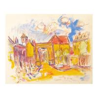 "Wayne Ensrud Signed ""Beaune, Burgundy"" 15x18 Mixed Media Original Artwork at PristineAuction.com"