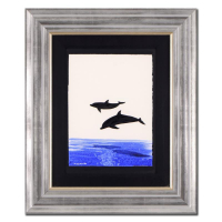 "Wyland Signed ""Two Dolphins"" 23x26 Custom Framed Original Watercolor Painting"