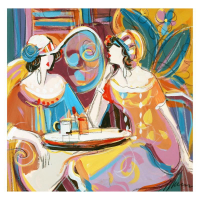 """Isaac Maimon Signed """"Sharing Love Stories"""" 22x22 Original Acrylic Painting at PristineAuction.com"""