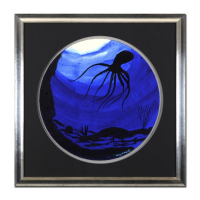 "Wyland Signed ""Octopus"" 29x29 Custom Framed Original Watercolor Painting at PristineAuction.com"