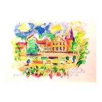 "Wayne Ensrud Signed ""Chateau Lafite-Rothschild"" 20x29 Mixed Media Original Artwork at PristineAuction.com"