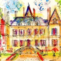 "Wayne Ensrud Signed ""Chateau Pichon Longueville Comtess de Lalande - 2"" 20x29 Mixed Media Original Artwork at PristineAuction.com"