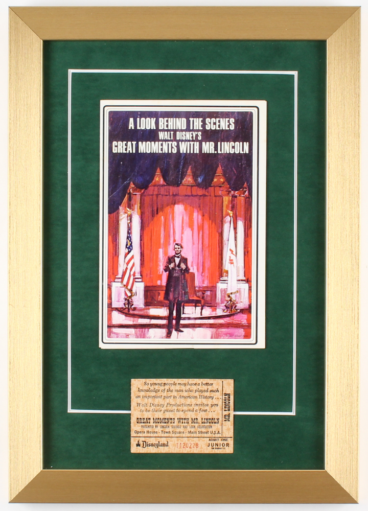 """Disney """"Great Moments With Mr. Lincoln"""" 12x17 Custom Framed Photo with Vintage Ticket at PristineAuction.com"""