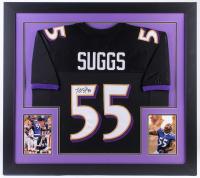 Terrell Suggs Signed Ravens 31x35 Custom Framed Jersey (JSA Hologram)