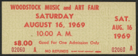 Authentic Unused Woodstock Ticket from Saturday August 16, 1969