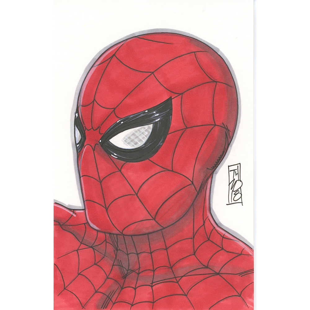 Tom hodges spider man signed original 5 5 x 8 5 color drawing on paper 1 1