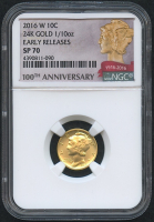 2016-W Gold Mercury Dime 1/10 Oz Gold Coin with Original Presentation Box & COA (NGC SP 70) (Early Releases) (100th Anniversary Label)