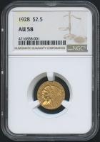 1928 $2.50 Indian Quarter Eagle Gold Coin (NGC AU 58)