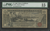 """1896 $1 One Dollar """"Educational Series"""" U.S. Silver Certificate Large Size Currency Bank Note Fr #224 (PMG 15)"""