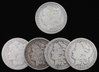 Lot of (5) Morgan Silver Dollars with 1882-O, 1883, 1883-S, 1884-O, & 1889-O