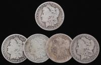 Lot of (5) Morgan Silver Dollars with (2) 1886-O, 1887-O, 1897-O, & 1900-O