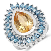7.54 Carat Genuine Citrine and London Blue Topaz .925 Sterling Silver Ring