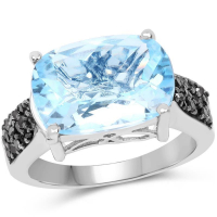 3.96 Carat Genuine Baby Swiss Blue Topaz and Black Diamond .925 Sterling Silver Ring