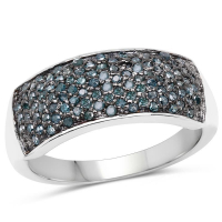 0.42 Carat Genuine Blue Diamond .925 Sterling Silver Ring
