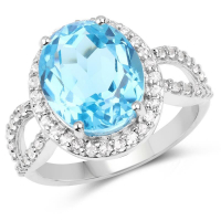 6.03 Carat Genuine Swiss Blue Topaz and White Topaz .925 Sterling Silver Ring