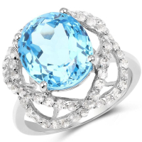 7.32 Carat Genuine Swiss Blue Topaz & White Topaz .925 Sterling Silver Ring