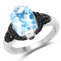 """3.81 Carat Genuine Baby Swiss Blue Topaz, Black Diamond and White Diamond .925 Sterling Silver Ring"""