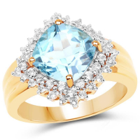 14K Yellow Gold Plated 4.33 Carat Genuine Swiss Blue Topaz and White Topaz .925 Sterling Silver Ring