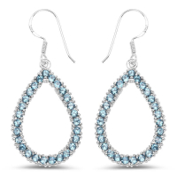 4.10 Carat Genuine London Blue Topaz .925 Sterling Silver Earrings