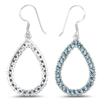4.10 Carat Genuine London Blue Topaz .925 Sterling Silver Earrings at PristineAuction.com