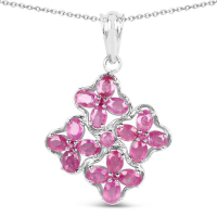 3.72 Carat Genuine Ruby .925 Sterling Silver Pendant