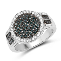 0.44 Carat Genuine Blue Diamond and White Diamond .925 Sterling Silver Ring