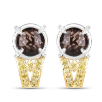 """3.75 Carat Genuine Smoky Quartz, Yellow Diamond & White Diamond .925 Sterling Silver Earrings"" at PristineAuction.com"
