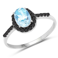 0.91 Carat Genuine Aquamarine and Black Diamond 10K White Gold Ring