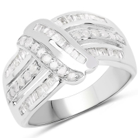 0.66 Carat Genuine White Diamond .925 Sterling Silver Ring