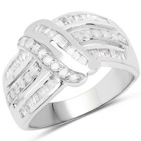 0.66 Carat Genuine White Diamond .925 Sterling Silver Ring