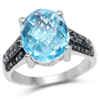 5.51 Carat Genuine Baby Swiss Blue Topaz & Blue Diamond .925 Sterling Silver Ring