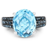 5.51 Carat Genuine Baby Swiss Blue Topaz & Blue Diamond .925 Sterling Silver Ring at PristineAuction.com