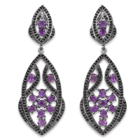 5.74 Carat Genuine Amethyst & Black Spinel .925 Sterling Silver Earrings