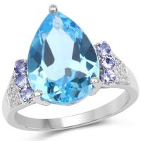 6.85 Carat Genuine Swiss Blue Topaz, Tanzanite and White Topaz .925 Sterling Silver Ring