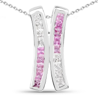 1.08 Carat Genuine Pink Sapphire & White Sapphire .925 Sterling Silver Pendant