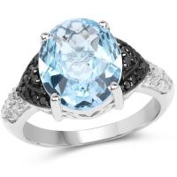 """5.37 Carat Genuine Baby Swiss Blue Topaz, Black Diamond and White Topaz .925 Sterling Silver Ring"""