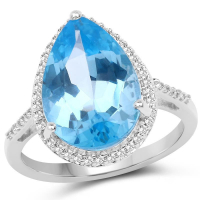 6.76 Carat Genuine Swiss Blue Topaz and White Topaz .925 Sterling Silver Ring