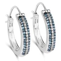 0.48 Carat Genuine Blue Diamond and White Diamond .925 Sterling Silver Earrings