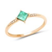 0.42 Carat Genuine Zambian Emerald and White Diamond 14K Yellow Gold Ring