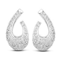 0.64 Carat Genuine White Diamond .925 Sterling Silver Earrings