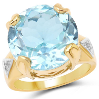 14K Yellow Gold Plated 12.98 Carat Genuine Blue Topaz and White Topaz .925 Sterling Silver Ring