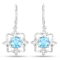 5.00 Carat Genuine Swiss Blue Topaz .925 Sterling Silver Earrings