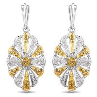 0.54 Carat Genuine White Diamond and Yellow Diamond .925 Sterling Silver Earrings