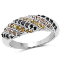 0.63 Carat Genuine Champagne Diamond, Yellow Diamond and Black Diamond .925 Sterling Silver Ring