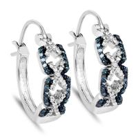 0.52 Carat Genuine Blue Diamond and White Diamond .925 Sterling Silver Earrings