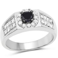 0.75 Carat Genuine Black Diamond & White Diamond .925 Sterling Silver Ring