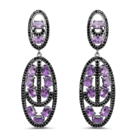 12.45 Carat Genuine Amethyst and Black Spinel .925 Sterling Silver Earrings